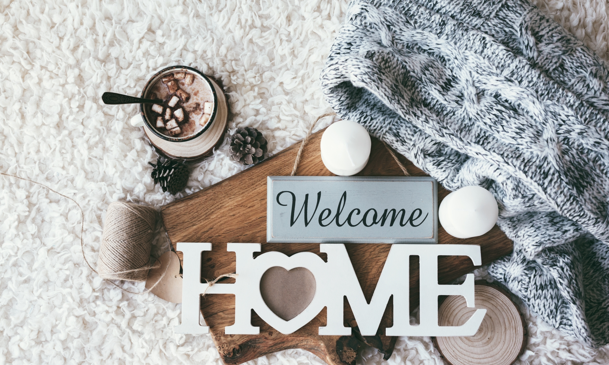 Welcome home, MyHome, hot chocolate, fuzzy blanket